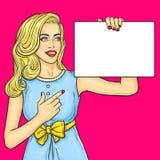 Pop art girl showing ads vector illustration
