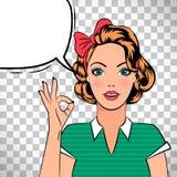 Pop art girl showing OK sign Stock Image