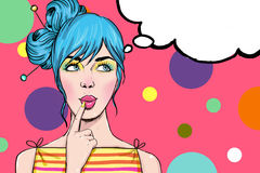 Pop Art girl with the speech bubble.Sexy disco girl. Pop Art illustration of girl with the speech bubble.Pop Art girl. Party invitation. Birthday greeting card royalty free stock photos
