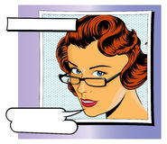 Pop Art Girl with Speech Bubbles Stock Photos