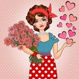 Pop art girl valentine Royalty Free Stock Photos