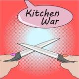 Pop art Girls having argument fight. Disagreement in cooking. Kitchen accessories equipment in move. Girls having argument fight at the knives Stock Photo