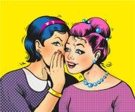 Pop art girls share secrets pin up pop art comic style. Stock art Royalty Free Stock Image