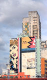 Pop art graffiti on building in Sao Paolo Royalty Free Stock Photography