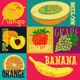 Pop Art grunge style fruit poster. Collection of retro fruits. Vintage vector set of fruits. Stock Images