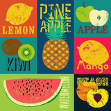 Pop Art grunge style fruit poster. Collection of retro fruits. Vintage vector set of fruits. Royalty Free Stock Image