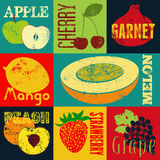 Pop Art grunge style fruit poster. Collection of retro fruits. Vintage vector set of fruits. Stock Photos