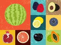 Pop Art grunge style fruit poster. Collection of retro fruits. Vintage vector set of fruits. Stock Photo