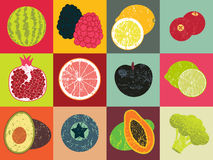 Pop Art grunge style fruit poster. Collection of retro fruits. Vintage vector set of fruits. Royalty Free Stock Photo