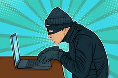 Pop art hacker thief hacking into a computer. Caucasian hacker thief hacking into a computer. Vector illustration in pop art retro comic style stock illustration