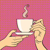 Pop art hands with coffee cup vector illustration. Royalty Free Stock Photos