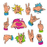 Pop art hands fingers showing gesture and human symbols hands different popart handle pose signal vector illustration. Stock Photos