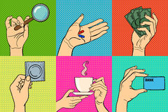 Pop art hands vector illustration. Stock Images