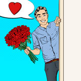 Pop Art Handsome Man with Flowers Bouquet Roses. Vector illustration Royalty Free Stock Photo