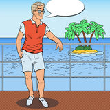 Pop Art Handsome Man Relaxing on Private Yacht. Tropical Beach Vacation Royalty Free Stock Photography