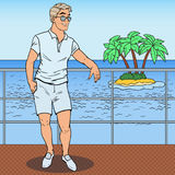 Pop Art Handsome Man Standing on Private Yacht. Tropical Beach Vacation Stock Photos