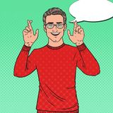 Pop Art Handsome Young Man Crossed Fingers. Guy Making a Wish. Vector illustration Stock Photos