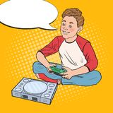 Pop Art Happy Boy Playing Video Game. Kid with Control Console Stock Photo