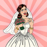Pop Art Happy Bride with Flowers Bouquet Showing Wedding Ring Stock Images