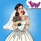 Pop Art Happy Bride with Flowers Bouquet Showing Wedding Ring Royalty Free Stock Photos