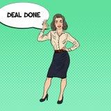 Pop Art Happy Business Woman Gesturing OK Stock Photo
