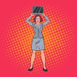 Pop Art Happy Business Woman Holding Laptop. Secretary with Computer. Vector illustration Stock Images