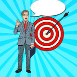 Pop Art Happy Businessman Achieved the Target. Business Success Royalty Free Stock Photography