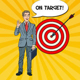 Pop Art Happy Businessman Achieved the Target Stock Photography