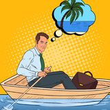 Pop Art Happy Businessman Floating in the Boat and Dreaming about Tropical Vacation.   Royalty Free Stock Photo