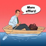 Pop Art Happy Businessman Floating in the Boat. Summer Vacation. Vector illustration Royalty Free Stock Image