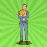 Pop Art Happy Businessman Holding Big Bitcoin Coin. Crypto Currency Decentralized Technology Royalty Free Stock Image