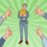 Pop Art Happy Businessman Holding Big Bitcoin Coin with Hands Thumbs Up. Crypto Currency Decentralized Technology Stock Photo