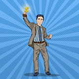 Pop Art Happy Businessman Holding Golden Winners Cup. Business Success Royalty Free Stock Images