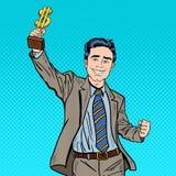 Pop Art Happy Businessman Holding Golden Winners Cup. Business Success Stock Image