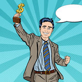 Pop Art Happy Businessman Holding Golden Winners Cup. Business Success Royalty Free Stock Photography