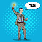 Pop Art Happy Businessman Holding Golden Winners Cup. Business Success Stock Photo