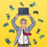 Pop Art Happy Businessman with Laptop and Falling Down Money. Business Success Stock Image