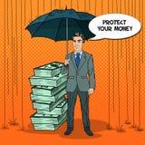 Pop Art Happy Businessman Protecting Money from Rain with Umbrella. Comic Speech Bubble Royalty Free Stock Photography