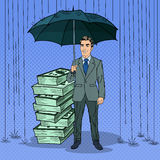 Pop Art Happy Businessman Protecting Money Stock Image