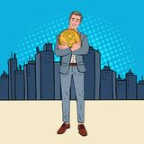 Pop Art Happy Businessman Standing in the City with Big Bitcoin Coin. Crypto Currency Decentralized Technology Royalty Free Stock Image