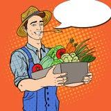 Pop Art Happy Farmer Holding Basket with Fresh Vegetables stock illustration