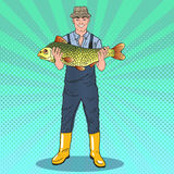Pop Art Happy Fisherman Holding Big Fish. Good Catch Stock Photos