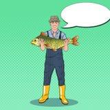 Pop Art Happy Fisherman Holding Big Fish. Good Catch Royalty Free Stock Photo