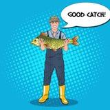 Pop Art Happy Fisherman Holding Big Fish. Good Catch Stock Photos
