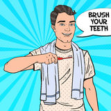 Pop Art Happy Man with Toothbrush. Oral Hygiene Stock Photo