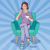 Pop Art Happy Pregnant Woman Eating Salad at Home. Healthy Food, Motherhood Concept. Vector illustration stock illustration