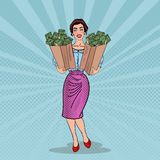 Pop Art Happy Rich Woman Holding Bags with Money Stock Image