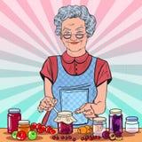 Pop Art Happy Senior Woman Making Homemade Jam. Healthy Eating Royalty Free Stock Photo