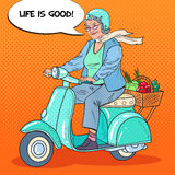 Pop Art Happy Senior Woman Riding Scooter with Basket of Vegetables. Lady Biker Stock Images