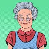 Pop Art Happy Senior Woman Smiling Stock Images
